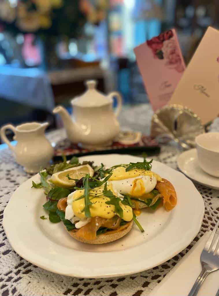 Small Talk Tearooms - poached egg, salmon and hollandaise sauce